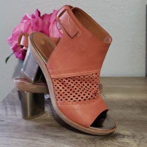 Anthropologie Leifsdottir leather  bootie heels.